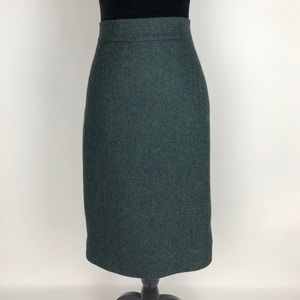 J.Crew NO 2 PENCIL SKIRT Donegal WOOL Size 6 Green